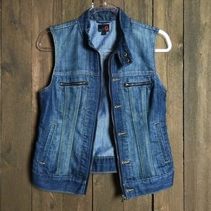 Guess Sleeveless, Dark Wash, Zip-up Denim Vest